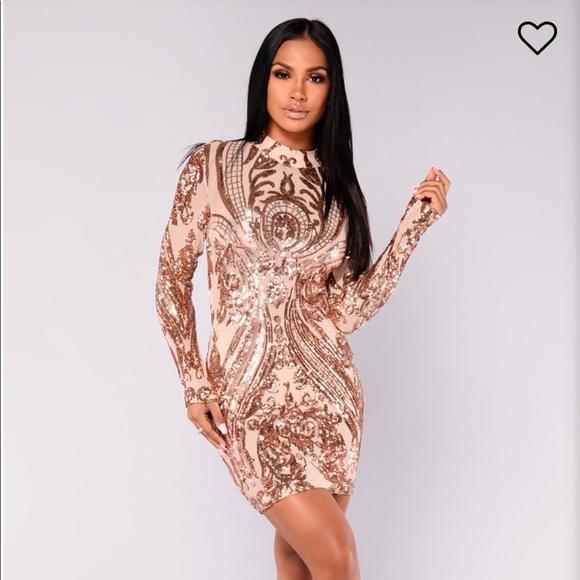 4f565c53 Fashion Nova Dresses | Talitha Sequin Dress Rosegold | Poshmark